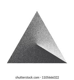 Minimal Vector Stippled Triangle Shape. Dotwork Art Illustration. Stippling Background