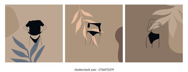 Minimal vector template with faceless woman. Linear beautiful female figure in lingerie and swimsuit on colorful abstract simple shapes. Promotion design for social media, logo for shop, beauty salon.
