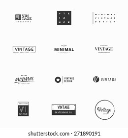 Minimal vintage vector logo templates for brand design. Twelve examples of modern and minimal logo vectors