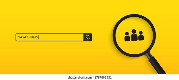 Minimal we are hiring background, job vacancy concept