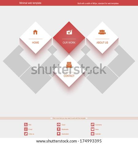 minimal web template corporate portfolio site stock vector royalty