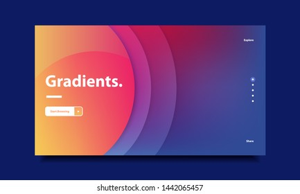Minimal Website Hero Header Template with Vibrant Gradient Background in Contrasting Colors