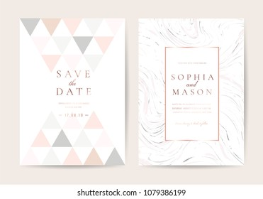 Minimal wedding cards with Pink marble  background cover  and rose gold texture
