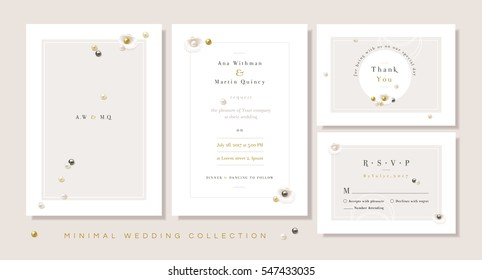 Minimal wedding collection templates, invitation front and back, thank you card and rsvp in soft color hues with seashells and gemstone pearls