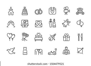 Minimal wedding icon set - Editable stroke illustration - Shutterstock ID 1504479521