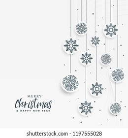 minimal white christmas background with snowflakes decoration