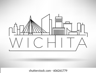 Minimal Wichita Linear City Skyline with Typographic Design