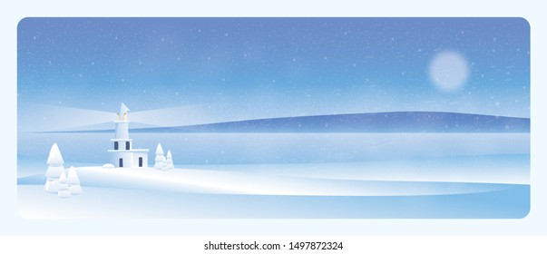 Minimal winter landscape.Lighthouse in the winter with snow fir,fog and snow storm.Blue color tone.Minimal winter landscape concept.
