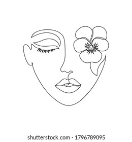 Minimal woman face on white background. One line drawing style.