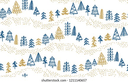 Minimal Xmas tree hand drawn sketch seamless pattern. holiday Christmas trees for wrapping paper, scrap booking