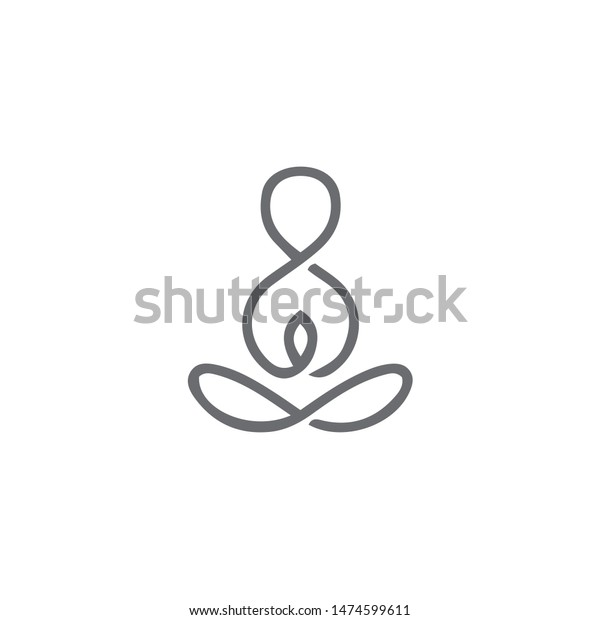 Minimal Yoga Logo Design Illustration Vector Stock Vector Royalty Free 1474599611