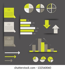 Minimalictic modern infographic folder with diagrams, arrows, speech bubbles and graphs. Vector.