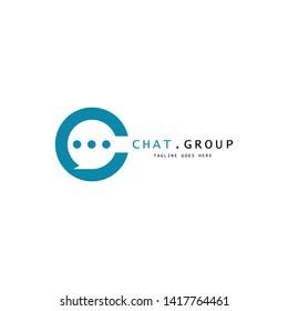 Minimalis blue letter c or chat flat logo design.- Vector