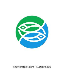 Minimalis fish line art logo design vector illustration