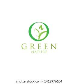Minimalis green nature, leaf, flower logo design inspiration.- Vector Eps10