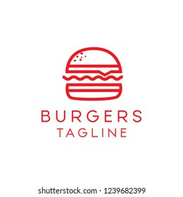 Minimalis, simple and modern Burgers Logo. Suitable for use as a restaurant logo or cafe. Can also be used as an icon.