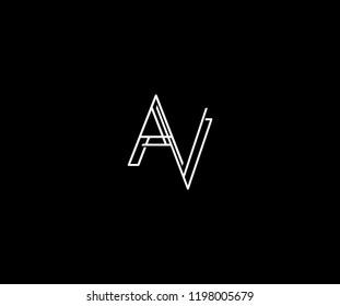Minimalism AV A V Linked Thin Monogram Logo
