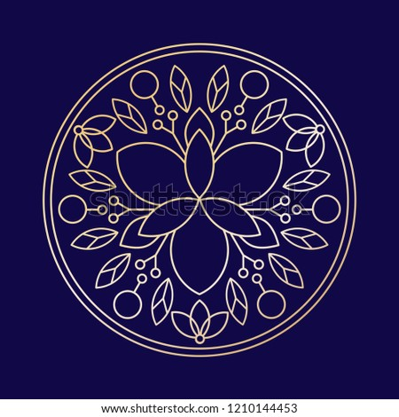 Minimalism Golden Linear Flower Vector Logo Stock Vector (Royalty