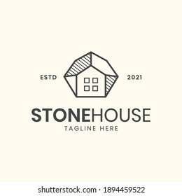Minimalism stone house logo template