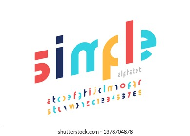 Minimalism style modern font design, lowercase alphabet letters and numbers vector illustration