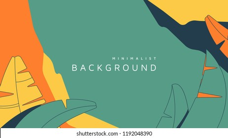Minimalist abstract background, banana leaves and graphic shapes in green and yellow tones