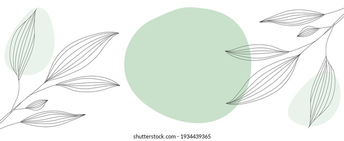 Minimalist abstract background with black outline leaves located on the sides of the template
