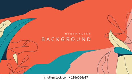 Minimalist abstract background, leaves and graphic shapes in red and blue tones