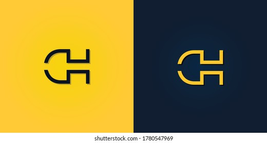 Minimalist Abstract Initial letter DH logo. This logo incorporate with abstract letter in the creative way.It will be suitable for which company or brand name start those initial.