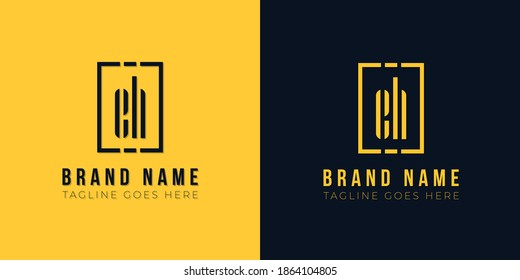 Minimalist abstract initial letters EH logo. This icon incorporate with two abstract letters and rectangle in the creative way. It will be suitable for which company or brand name start those initial.