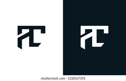 Minimalist abstract letter AC logo. This logo icon incorporate with two abstract shape in the creative process.