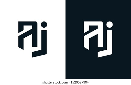 Minimalist abstract letter AJ logo. This logo icon incorporate with two abstract shape in the creative process.