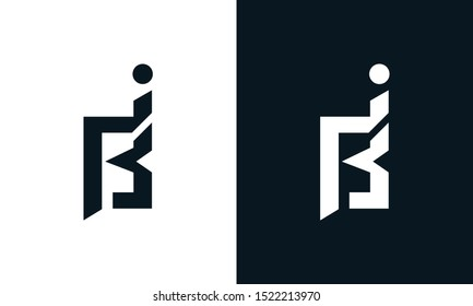 Minimalist abstract letter BI logo. This logo icon incorporate with two abstract shape in the creative process.