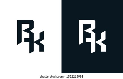 Minimalist abstract letter BK logo. This logo icon incorporate with two abstract shape in the creative process.