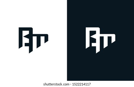Minimalist abstract letter BM logo. This logo icon incorporate with two abstract shape in the creative process.
