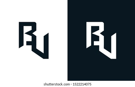 Minimalist abstract letter BV logo. This logo icon incorporate with two abstract shape in the creative process.