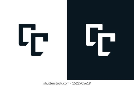Minimalist abstract letter CC logo. This logo icon incorporate with two abstract shape in the creative process.