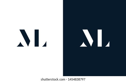 Minimalist abstract letter ML logo. This logo icon incorporate with letter M and L abstract shape in the creative way. It will be suitable for Which company name start m,l.