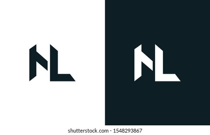 Minimalist abstract letter NL logo. This logo icon incorporate with two abstract shape in the creative process.