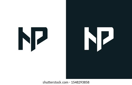 Minimalist abstract letter NP logo. This logo icon incorporate with two abstract shape in the creative process.