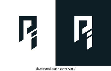 Minimalist abstract letter PI logo. This logo icon incorporate with two abstract shape in the creative process.