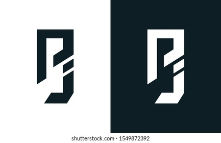 Minimalist abstract letter PJ logo. This logo icon incorporate with two abstract shape in the creative process.