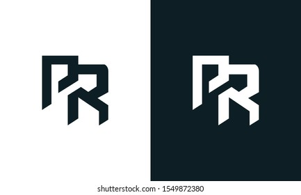 Minimalist abstract letter PR logo. This logo icon incorporate with two abstract shape in the creative process.