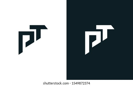 Minimalist abstract letter PT logo. This logo icon incorporate with two abstract shape in the creative process.