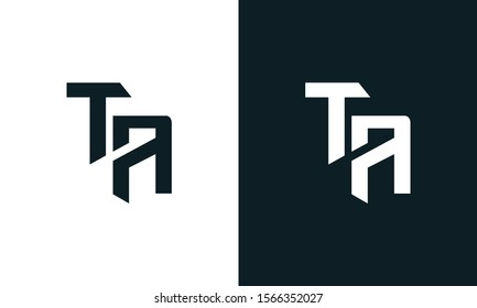 Minimalist abstract letter TA logo. This logo icon incorporate with two abstract shape in the creative process.