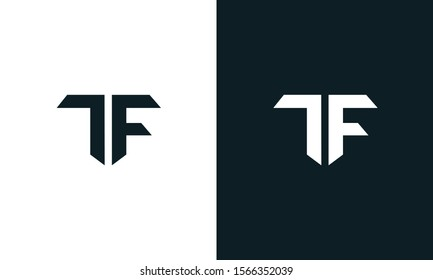 Minimalist abstract letter TF logo. This logo icon incorporate with two abstract shape in the creative process.