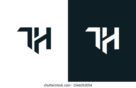 Minimalist abstract letter TH logo. This logo icon incorporate with two abstract shape in the creative process.
