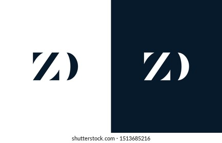 Minimalist abstract letter ZD logo. This logo icon incorporate with two abstract shape in the creative way.