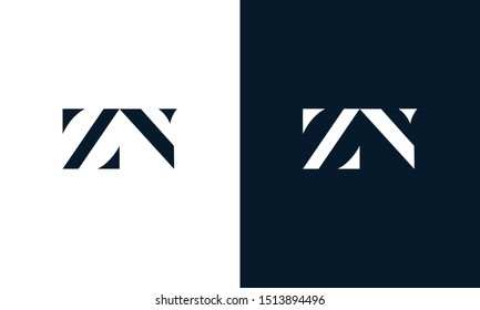 Minimalist abstract letter ZN logo. This logo icon incorporate with two abstract shape in the creative way.