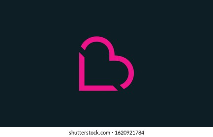 Minimalist abstract line art Letter LB Love logo. This logo icon incorporate with abstract love shape in the creative way.