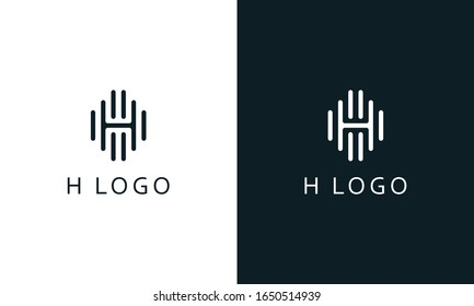 Minimalist Abstract line art letter H logo. This logo icon incorporate with letter H and sound wave line in the creative way.